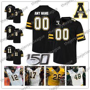 Appalachian State Mountaineers 2019 personalizado faz Número Nome costurado 150º remendo Branco Preto Amarelo # 12 Zac Thomas NCAA Football Jersey
