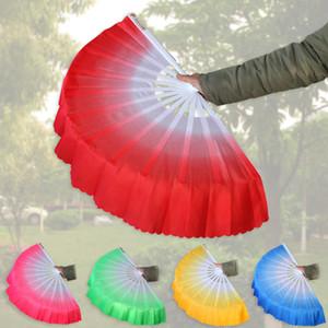 Chinesischer Tanz Fan Silk Weil 5 Farben erhältlich für White Fan Knochen Hochzeit Falten Hand Fan-Party Favor LJJA3499-2