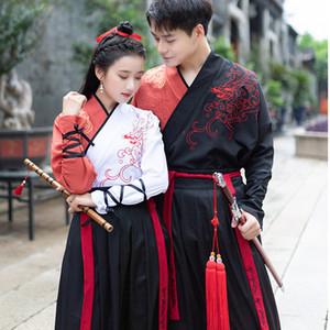 Casais chineses Hanfu antigo traje tradicional dança popular Wushu Roupa Mulheres Homens desempenho do desgaste Festival Outfit DN4908