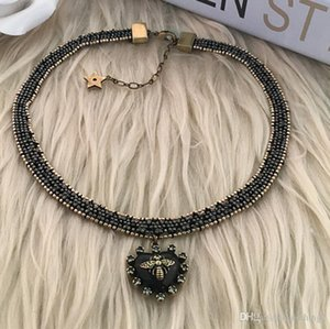 designer jewelry heart pendant chokers bees beades necklaces classic old metal color for women hot fashion