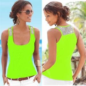 Glänzende Pailletten-Behälter-Westen trägerloses ärmelloses im Freienbehälter-T-Shirts arbeiten Sommer-Ausgangskleidung 9 9yl E1 der Frauen um