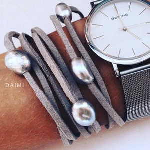 Daimi 9-10mm Baroque Pearl Leather Bracelet, Pearl Bracelet, Casual Style Summer Beach Jewelry, Diy Can Be Long J190519
