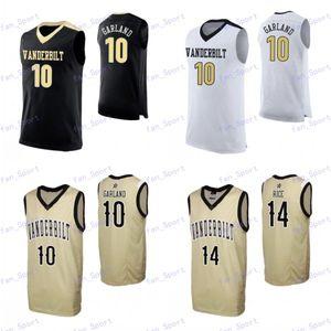 Personalizado Vanderbilt Commodores 2020 Basketball Branco Black Gold 10 Garland 24 Aaron Nesmith 0 Saben Lee 2 Pippen Jr. Dario Scotty Jersey 4XL