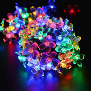 Peach Sakura Flower Solar Lamp Power LED String Fairy Lights Solar Garlands Garden Christmas Decor For Outdoor