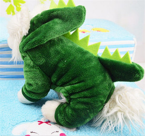 Dinosaur Pets Clothes Thickening Keep Warm Four Legs Ropa para perros Moda de alta calidad con color verde 8 5gg J1