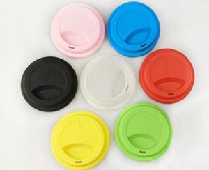 Tapa de la taza de silicona de 9 cm Tapas creativo Taza de la cubierta de la categoría alimenticia del vaso reutilizable té café Anti-polvo cubierta de cierre hermético para 12oz / 16oz Copas