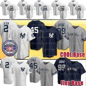새로운 2020 뉴욕 2 데릭 지터 양키스 유니폼 99 아론 판사 45 게릿 콜 베이브 루스 GLEYBER TORRES 마리아노 리베라 야구 유니폼