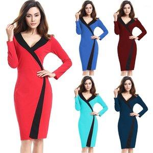 Kleidung Frühling Womens Designer Bleistift-Kleider V-Ausschnitt Langarm Panelled Weibliche Kleider Plus Size Womens
