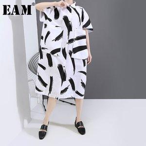 [EAM] Frauen-weißes Muster gedruckt Big Size-Shirt-Kleid Neuer Revers Halbarm Loose Fit Fashion Tide Frühling Sommer 2020 1U829