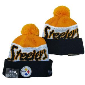 Promotion pom poms Steelers de laine de Noël 100ème chapeau tricoté skullies casquettes d'hiver Feminino BONNETS marque de mode chapeaux Bonnet Taille