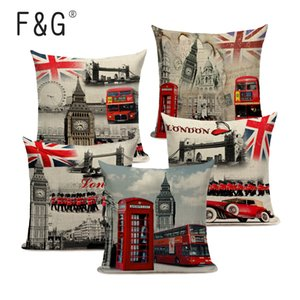 New British style London Home Textile décoratif Canapé Coussin Coussin Case Vintage coton lin rose rouge Pillowcases