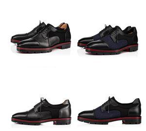 Vitello Grained Leathers Lug Sole partito di sera nuovo di zecca Mika Sky Mocassini inferiore rossa Gentleman Oxford Walking Flats Luxury Business Dres
