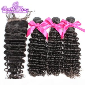 "Unprocessed Deep Wave 100% Brazilian Virgin Human Hair Extensions 3pcs Hair Wefts + 1pc Lace Closure 4""x4"" Full Head Natural Color"