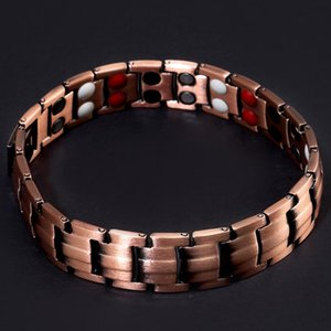Copper Chain Bracelet Men 4 Black Double Row Magnetic Therapy Man Bracelets With Magnet Negative Ions Germanium Infrared