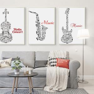 Poésie noire élégante Musique Blanc Symbole Résumé Guitare A4 toile d'art Peinture imprimer l'affiche Accrochage Peintures Décoration intérieure