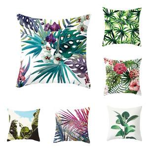 Plantes tropicales gros Feuille de palmier Feuilles vert Coussin Monstera Couvre fleur d'hibiscus Coussin décoratif beige lin Taie