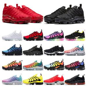 nike vapormax tn plus PURE PLATINUM Rainbow trabalho bule Rosa Mar Volt triplo preto branco das mulheres tênis esportivos formadores tamanho 36-45