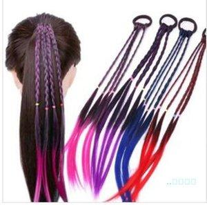 Crianças Gradiente de cor do cabelo elástico de borracha Faixa de Cabelo Acessórios crianças peruca headband Meninas Torça Braid Rope cocar cabelo braider A122109