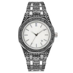 reloj de calidad superior de la correa de acero inoxidable de 40 mm clásico estilo del reloj del movimiento del cuarzo de los hombres de lujo plegable viento hebilla de manera simple tallado