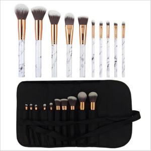 Strumento Cosmetic Bag 10PCS pennelli trucco Kit marmo dell'ombretto / Fondazione / polvere / arrossisce / labbro spazzola di trucco con PU