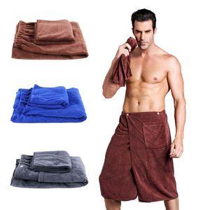 Роскошная мужская Ванна Wrap полотенце Установить с Карманным пляжем для купания Мягких микрофибров Мужчина Быстро сохнет Wearable Ванна Полотенца Душ Ванна Обертывание