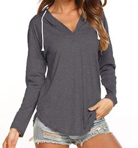 Donna Sweatshirts Fashion V-Ausschnitt dünne Tops Designer Frauen Solid Color Hoodies Langarm mit Kapuze lose