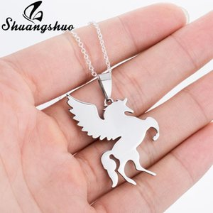 Shuangshuo Flying Horse Necklace For Girls Children Cartoon Horse Jewelry Accessories Women Animal Statement Necklace Pendant