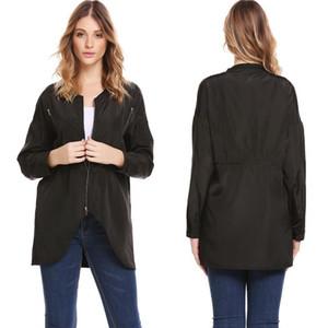 Hot Selling Autumn Long Sleeve Jacket Baseball Uniform Mid-length Plain Color WOMEN'S Dress