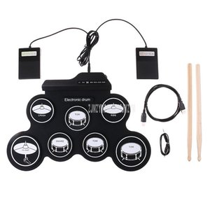Roll-Up USB Silicone Drum Set Compact Size Digital Electronic Drum Kit 7 Drum Pads with Drumsticks Foot Pedal for Beginner Kids