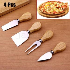 Nützliche Käse Werkzeuge 4PCS / SET Eiche Griff Messer-Gabel-Schaufel Kit Graters für Ausschnitt Baking Cheese Board Sets Butter Pizza Slicer Cutter