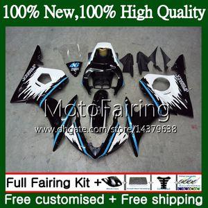 Bodys azul negro para YAMAHA YZF R6 S 06 YZF600 YZFR6S 06 07 08 09 102MF1 YZF-600 YZF R6S YZF-R6S 2006 2007 2008 2009 Fairing Body Kit