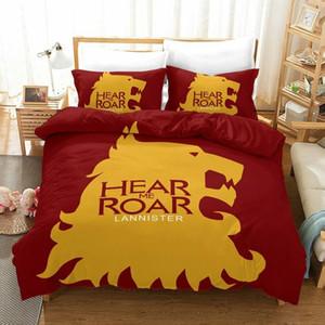 Thrones Uyku Seti Canavar Of Oyun Kafa Şık Nevresim Kral Kraliçe Tek Çift Yataklı Tam yastık kılıfı ile Kapağı Yatak