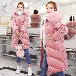 Moda-Olgitum Kış Kadın Altın Kadife Kadın Ceket Kadınlar Için İnce Kapşonlu Coat Uzun Parka Büyük Kürk Yaka Kalın Sıcak Kadınlar OutwearMX190822