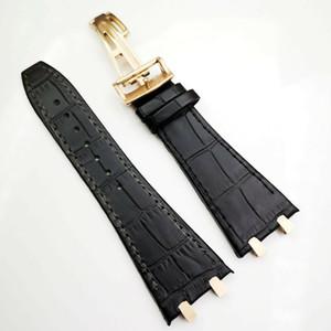 27mm Schwarzes hochwertiges Lederband 18mm Faltschließe 4 Verbindungsstück 4 Schraube 2 Verbindungsstück für AP Royal Oak 15400/15300