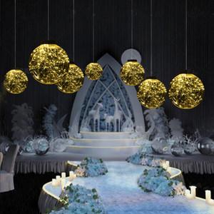 Decoración de la bola luminosa apoyos decoración de la boda transparente carretera estrella de la bola de acrílico plomo colgante LED fantasía estrellada carretera principal de cable de cobre