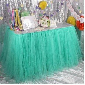 Romántico TUTU Fluffy Table Skirt Tulle Vajilla Mantel Falda para la fiesta de bienvenida al bebé Fiesta de Navidad Pastel de Bodas Tabla Princesa Deco