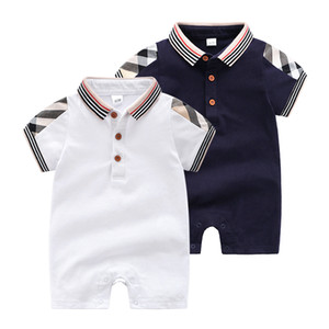 Высокое качество лацкан лето Новый Baby Girl одежда Детские сплошной цвет с короткими рукавами комбинезон новорожденных детская одежда розничная