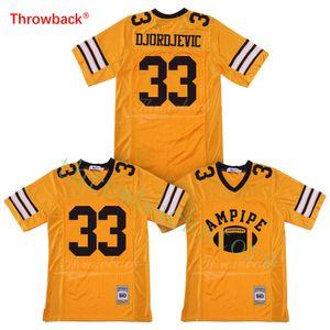 Tom Cruise Stefen Djordjevic 33 Ampipe High School Bulldog Yellow Football Jerseys Tamanho S-XXXL frete grátis