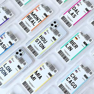 Boarding Pass Conception Soft TPU Téléphone de téléphone pour iPhone 6 7 8 x xR 11 12 PRO Max poids léger antichoc