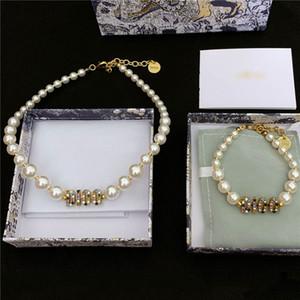 Vintage Color Diamond Necklace Pendants Pearl Designer Bracelet Necklaces Women Summer Luxury Jewelry Sets Rhinestone Alphabet Bracelet