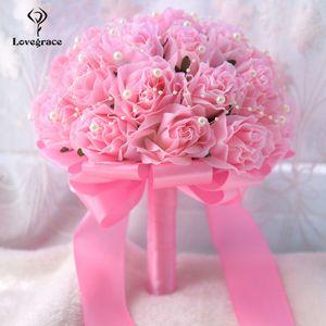 Partido falsas perlas LoveGrace novia boda ramo de flores dama de honor que sostiene la flor artificial de Rose del baile de boda Ramos T191108