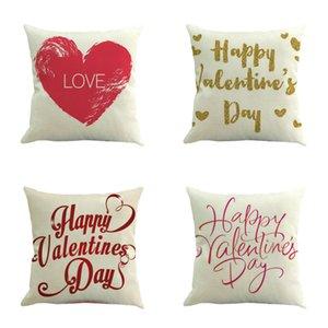 الحلو وسادة يغطي حالات سعيد عيد الحب القلب الطباعة وسادة أريكة الكتان غطاء وسادة ديكور المنزل صوفا رمي حالة