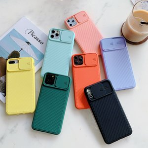 Shockproof Push Camera Protector Phone Case For iPhone 11 Pro Max Xs Max XR X 8 Plus Soft TPU Silicone Back Cover funda