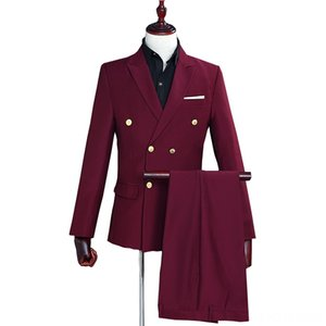 wine red double breasted Men 2019 Long sleeve men blazer with pant 2 pcs Men's Suits & Blazers Men's Clothing Party Wedding dress Suits Casu