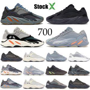 Kanye West 700 v2 hôpital réfléchissant carbone bleu inertie tephra Hommes Femmes Courir Chaussures solides Gey Teal Analog Designer Shoes formateur