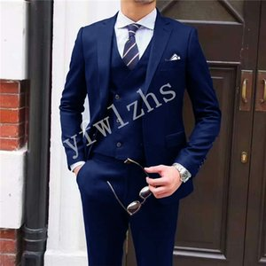 Handsome Two Buttons Groomsmen Notch Lapel Groom Tuxedos Mens Wedding Dress Man Jacket Blazer Prom Dinner suits (Jacket+Pants+Tie+Vest) W47