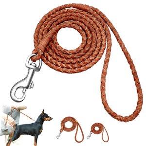 Cão coleira rolada redonda de couro trançada chumbo leashes para pequenos cães médios caminhando treinar trela