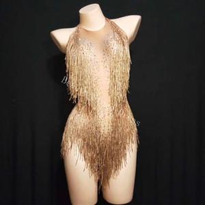 Traje de borla dorado brillante Traje de diamantes de imitación Traje de cuentas relucientes Traje de baile de una pieza Cantante Escote de leotardo Leotardo Body de mameluco