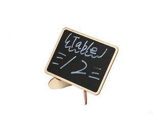 50 adet Diy Monte Mini Blackboard Ahşap Adı Mesaj Siyah Kurulu Düğün Etiketleri Ahşap Kara Tahta Masa Numarası Standı