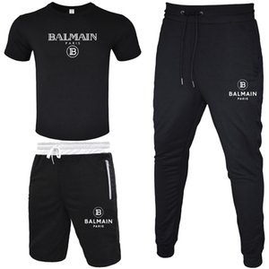 BALMAIN 남성 운동복 2020 T 셔츠 + 짧은 바지 + 긴 바지 3 개 조각 세트 단색 의상 정장 높은 품질 운동복